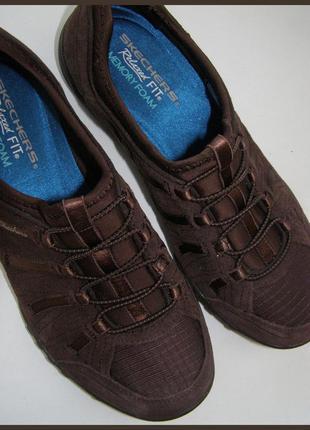 37/24 см – skechers - стильные замшевые кроссовки - натуральная замша + текстиль -новые