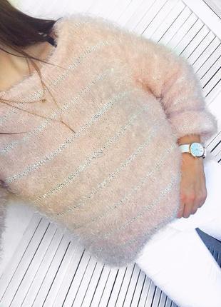 Невероятный зефирный свитер - травка \ пушистик с маленькими блестящими пайетками)