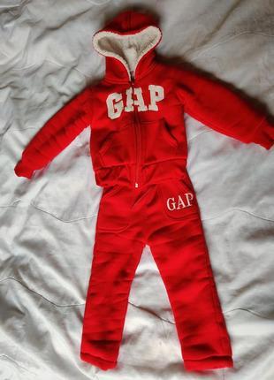 Теплый спортивный костюм, на меху, меховой костюм gap