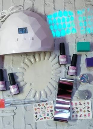 Стартовый набор для дизайна ногтей маникюра гель лак лампа база топ наклейки фольга фрезер