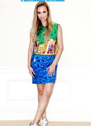 Шикарное дизайнерское vip платье nadya dzyak оригинал стиль versace арт принт
