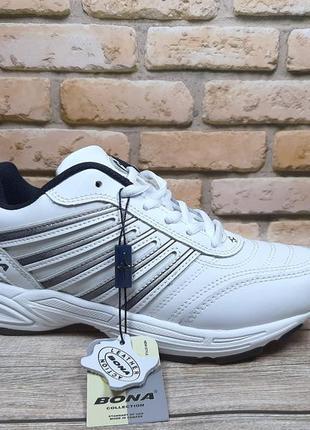 Белые кожаные кроссовки bona 796a  36-41р