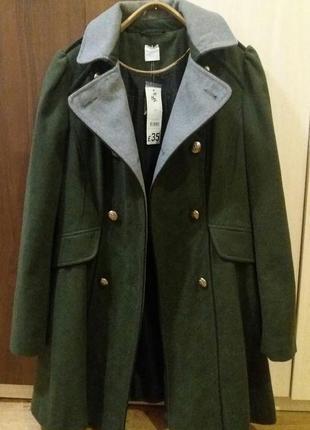 Хит сезона, стильное пальто милитари демисезон цвет хаки с шерстью  l/xl-xl, george