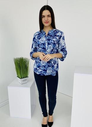 Женская легкая блузка, рубашка софт, блузка с принтом, нарядная блузка р-р 48-56