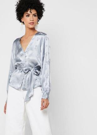 Topshop жаккардовая блуза с поясом