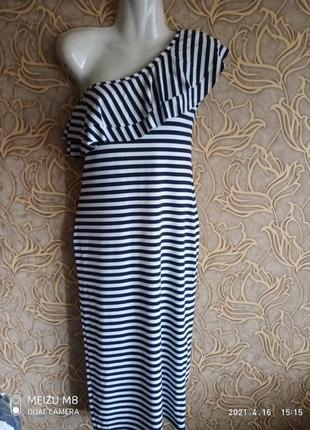Платье в полоску с рюшами larionoff