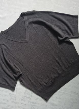 Свободный свитер с коротким рукавом/шерстяная кофта оверсайз #100%шерсть мериноса#