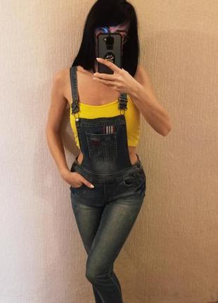 Стильный эксклюзивный джинсовый комбинезон с штанами, высокая посадка