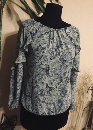 🔥шикарная🔥 шифоновая фирменная блуза блузка рюши принт