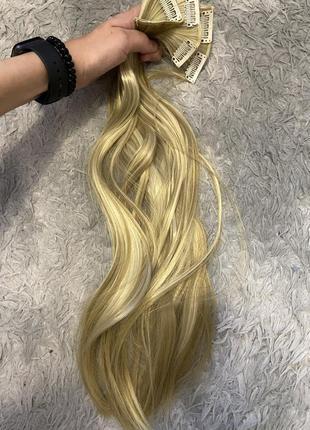 Волосы на заколках трессы блонд меллированные