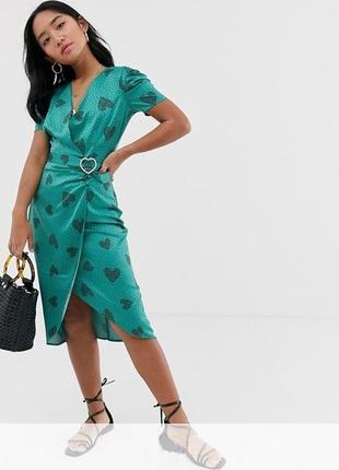 🌿 обалденное, сатиновое платье с принтом от river island