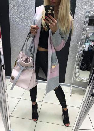 Кардиган серо розовый paparazzi fashion польша бренд