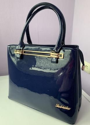 Лаковая красивая стильная сумка синего цвета💎💎💎