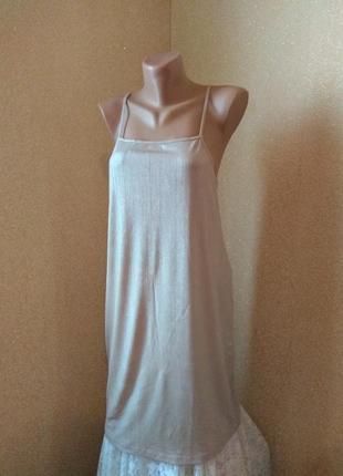Zara платье металлик бронза в бельевом стиле