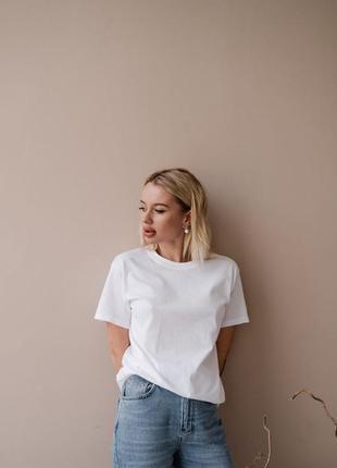 Базовая футболка белая актуальная хлопок