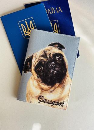 Мопс обложка на паспорт, загранпаспорт, загран собака