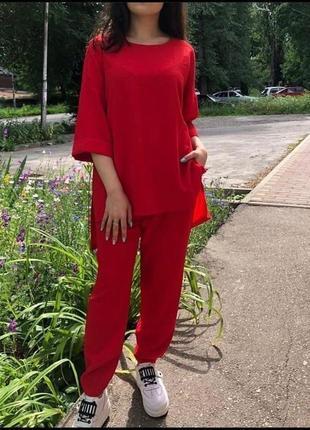 Красный брючный костюм женский прогулочный костюм удлененная кофта и штаны