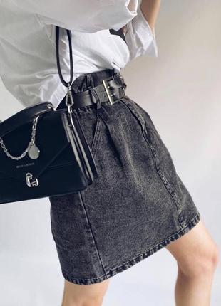 Стильная джинсовая юбка с поясом на резинке