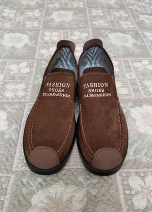 Коричневые туфли мужские мокасины слипоны 26,5см