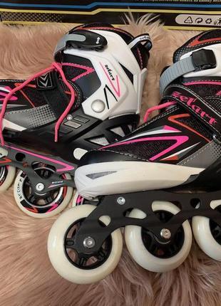 Zelart роликовые коньки раздвижные 39-42 черно-бело-розовые новые