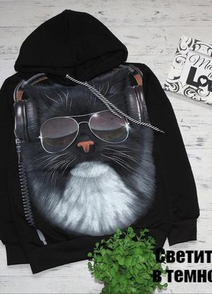 Детский крутой джемпер с капюшоном кот светится в темноте