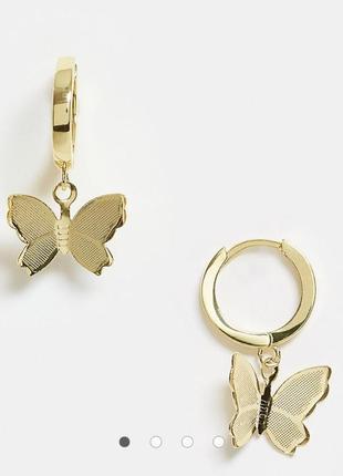 Сережки підвіски з позолотою, серьги с позолотой подвеска бабочка image gang asos