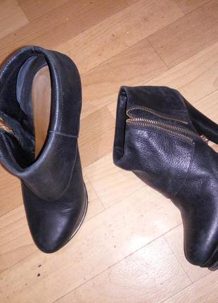 Ботинки dumond деми ботильоны кожаные на высоком каблуке на 38 р