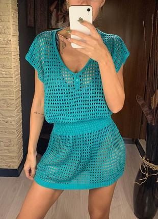 Женская пляжная туника-платье сетка с коротким рукавом и v-образым вырезом зеленая