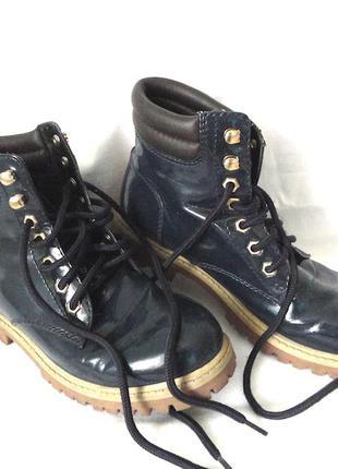 Ботинки primadonna ,синии лак кожа,размер 38,