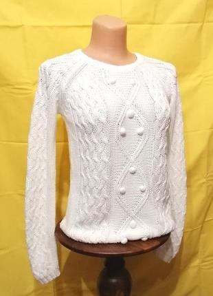 Белый свитер джемпер из хлопка