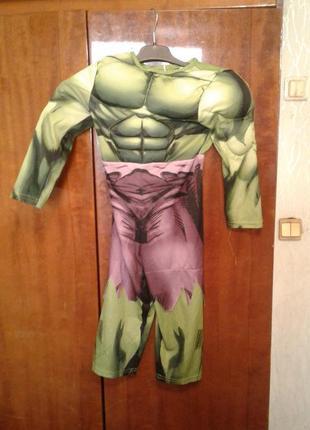 Детский карнавальный костюм халк 3-4 года ( имитация мускул )