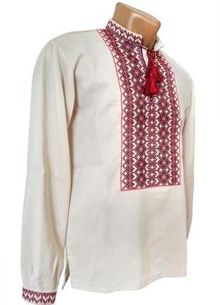 Чоловіча вишивана із льону на довгий рукав із козацьким орнаментом червона вишивка