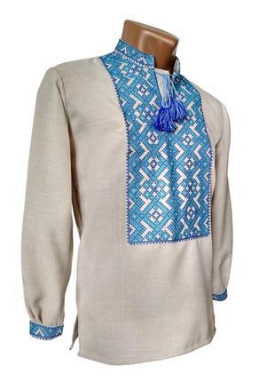 Лляна вишита чоловіча сорочка із геометричним орнаментом синя вишивка
