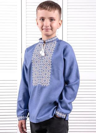 Вышиванка для мальчиков лен  92-164р