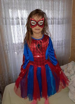 Платье человек паук на 7-8 лет