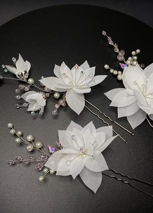 Набор шпилек в свадебную или вечернюю причёску с цветами