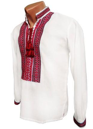 Чоловіча вишиванка білого кольору на домотканному полотні червоний орнамент