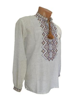 Святкова чоловіча сорочка із бежевою вишивкою