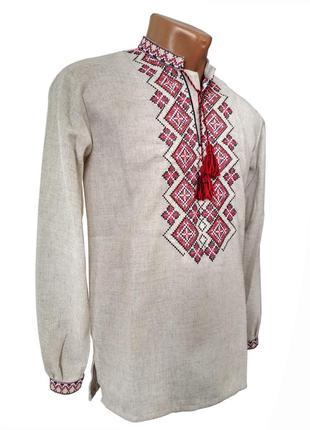 Святкова чоловіча сорочка із вишивкою з червоною вишивкою