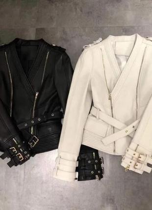 Акция!🔥стильная куртка косуха с поясом эко кожа кожанка