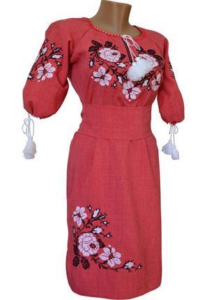 Коралова жіноча вишита сукня довжиною до колін із рукавом 3/4 «троянди»