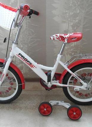 Детский велосипед для девочки profi ukraine 16  дюймов с корзинкой.