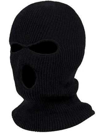 Балаклава маска (бандитка 3), унисекс черная