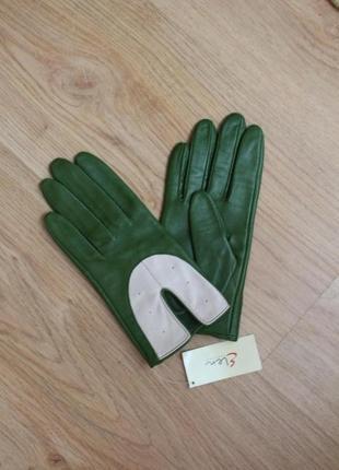 Перчатки кожаные лайка стильные зеленые elen fachion размер 7