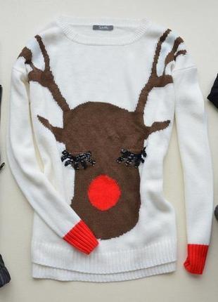 Теплый свитерок с оленем