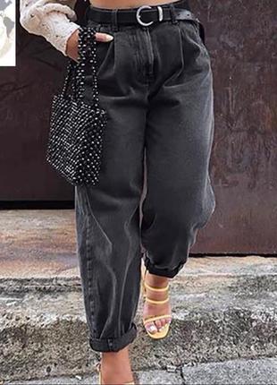 Трендовые джинсы багги, р. 25,26,27,28, джинс коттон, черный