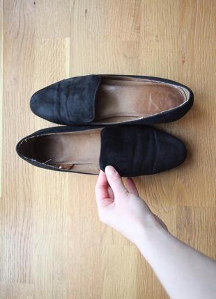 Лодочки туфли на танкетке мини черные базовые классические летние весенние кожа замша