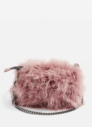 Feather pink bag, розовая сумочка с цепкой, сумка, нежная, пушистая