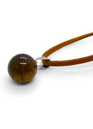 """🐯❤️ миниатюрная подвеска """"шарик"""" натуральный камень тигровый глаз на замшевом шнурке"""