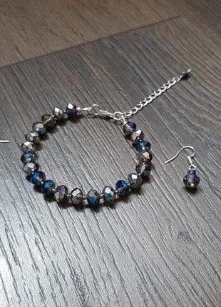Набор украшений синий, набор украшений серебристый,  серьги синие, браслет серебристый